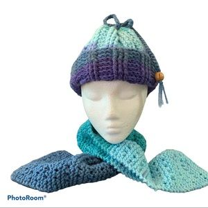 Handmade Winter Hat and Scarf Blue Muti One Size